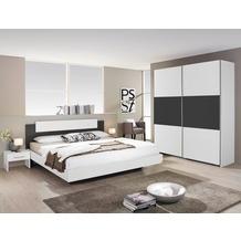 PACK'S Schlafzimmer Borba weiß/Graumetallic 180x200 cm