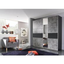 PACK'S Schwebetürenschrank Korbach, 2-türig, 1 Spiegeltüre, Teilspiegelfront, Stonegr./Graum/Graum, AC027.5S74