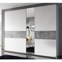 PACK'S Schwebetürenschrank Korbach weiß/Stonegrey 261x210x59 cm
