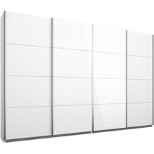 Rauch Orange Syncrono Schrank Kleiderschrank Synchron Schwebetürenschrank Weiß 4-türig, BxHxT 271x230x62 cm mit 2 Spiegeltüren, 2 Glastüren Griff alufarben