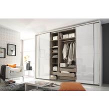 Rauch Orange Syncrono Schrank Kleiderschrank Synchron Schwebetürenschrank alpinweiß 4-türig, BxHxT 271x230x62 cm mit 2 Spiegeltüren, 2 Glastüren Griff alufarben