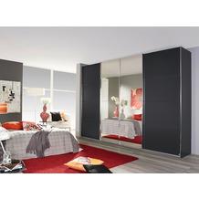 Rauch Orange Syncrono Schrank Kleiderschrank Synchron Schwebetürenschrank graumetallic 4-türig, BxHxT 315x230x62 cm mit 2 Spiegeltüren, 2 Glastüren Griff chromfarben