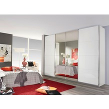 Rauch Orange Syncrono Schrank Kleiderschrank Synchron Schwebetürenschrank alpinweiß / weiß Hochglanz 4-türig, BxHxT 315x230x62 cm mit 2 Spiegeltüren Griff chromfarben