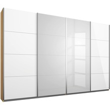 Rauch Orange Syncrono Schrank Kleiderschrank Synchron Schwebetürenschrank Weiß Hochglanz / Eiche Sonoma 4-türig, BxHxT 271x211x62 cm mit 2 Spiegeltüren Griff alufarben