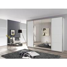 Rauch Orange Syncrono Schrank Kleiderschrank Synchron Schwebetürenschrank Weiß 4-türig, BxHxT 271x211x62 cm mit 2 Spiegeltüren Griff chromfarben