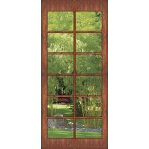 "papermoon VLIES Wand & Türdekor, Fototapete ""Tür"", Spezial VLIES Tapetenmaterial, Holz-, Sprossentür mit Blick in den Bambus Garten 90 x 200cm"