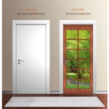 """papermoon Wand & Türdekor, Fototapete """"Tür"""", Spezial Tapetenpapier, Holz-, Sprossentür Blick in Bambus Garten 90 x 200cm"""
