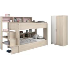 Parisot Etagenbett mit Bettschubkasten und  Schrank - Bibop 41 Akazie Nachbildung