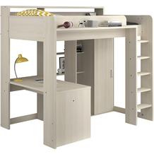 Parisot Hochbett mit integriertem Schreibtisch  und Schrank - Higher Kiefer Hell Nachbildung