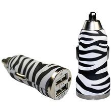 Pedea Dual-USB KFZ Adapter Fashion, 2.1A, zebra