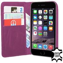 Pedea Echtledertasche (Bookstyle) für iPhone 6/6S, lila