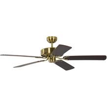 Pepeo Deckenventilator Potkuri Messing seidenmatt, Flügel Mahagoni mit Rattaneinlage, 132 cm