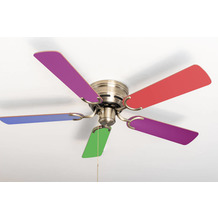 Pepeo Extra flacher Deckenventilator Kisa Multicolor Messing Antik