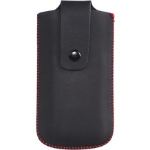 Twins Button Pouch M, schwarz-rot