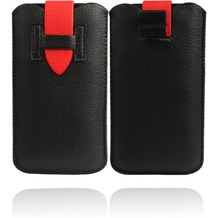 Twins Flap Pouch für iPhone 5/5S/SE, schwarz-rot
