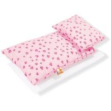 Pinolino Puppenbettzeug für Puppenbetten 'Herzchen', rosa, 3-tlg.