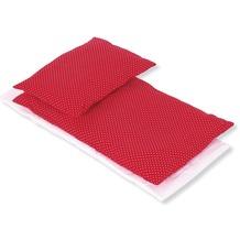 Pinolino Puppenbettzeug für Puppenbetten 'Pünktchen', rot, 3-tlg.