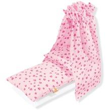 Pinolino Puppenbettzeug für Puppenwiegen mit Himmel 'Herzchen', rosa, 4-tlg.