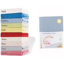 Pinolino Spannbetttücher für Kinderbetten im Doppelpack, Frottee, hellblau