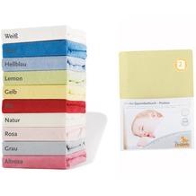 Pinolino Spannbetttücher für Kinderbetten im Doppelpack, Frottee, gelb