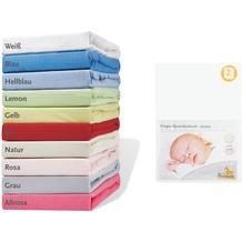 Pinolino Spannbetttücher für Wiegen und Anstellbettchen im Doppelpack, Jersey, weiß