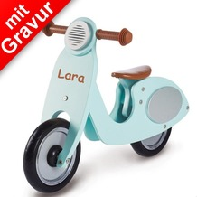 Pinolino Holz-Laufrad 'Vespa Wanda' mint für Kinder MIT GRAVUR (z.B. Namen)