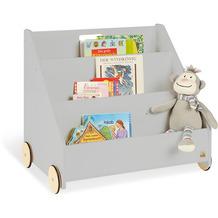 Pinolino Kinder-Bücherregal mit Rollen 'Lasse', grau