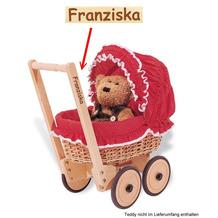 Pinolino Korbpuppenwagen 'Mona' inkl. Bettzeug Dessin 'Pünktchen' rot MIT GRAVUR (z.B. Namen)