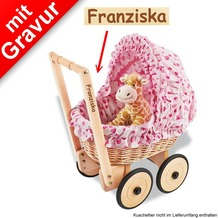 Pinolino Korbpuppenwagen 'Mona' inkl. Bettzeug Dessin 'Herzchen' rosa MIT GRAVUR (z.B. Namen)