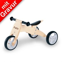 Pinolino Mini-Laufdreirad 'Charlie' natur MIT GRAVUR (z.B. Namen) Holz-Laufrad für Kinder