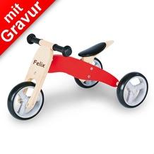 Pinolino Mini-Laufdreirad 'Charlie' rot/natur MIT GRAVUR (z.B. Namen) Holz-Laufrad für Kinder