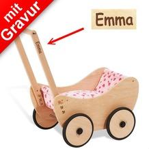 Pinolino Puppenwagen Trixi MIT GRAVUR (z.B. Namen) inkl. Bettzeug 'rosa Herzchen'