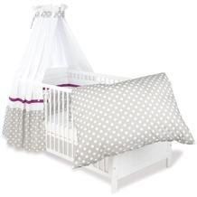 Pinolino Textile Ausstattung für Kinderbetten 'Punkte', grau, 4-tlg.