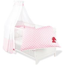 Pinolino Textile Ausstattung für Kinderbetten 'Glückspilz', rosa, 4-tlg.