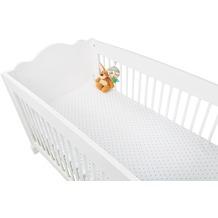 Pinolino Spannbetttücher für Kinderbetten im Doppelpack 'Sternchen', Jersey, grau und Uni, weiß
