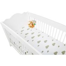 Pinolino Spannbetttücher für Kinderbetten im Doppelpack  'Wölkchen', Jersey, grau und Uni, weiß