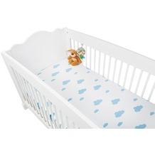 Pinolino Spannbetttücher für Kinderbetten im Doppelpack 'Wölkchen', Jersey, hellblau und Uni, weiß