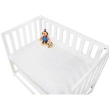 Pinolino Spannbetttücher für Wiegen, Anstellbettchen und Kinderwagen im Doppelpack 'Sternchen', Jersey, hellblau und Uni, weiß