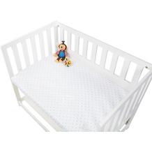 Pinolino Spannbetttücher für Wiegen, Anstellbettchen und Kinderwagen im Doppelpack  'Sternchen', Jersey, rosa und Uni, weiß