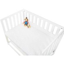 Pinolino Spannbetttücher für Wiegen, Anstellbettchen und Kinderwagen im Doppelpack 'Sternchen', Jersey, grau und Uni, weiß