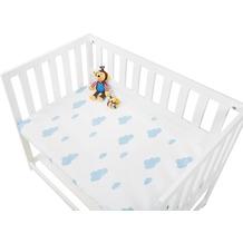 Pinolino Spannbetttücher für Wiegen, Anstellbettchen und Kinderwagen im Doppelpack 'Wölkchen', Jersey, hellblau und Uni, weiß