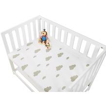 Pinolino Spannbetttücher für Wiegen, Anstellbettchen und Kinderwagen im Doppelpack 'Wölkchen', Jersey, grau und Uni, weiß