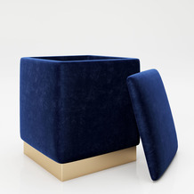 "PLAYBOY eckiger Pouf ""BETTY"" blau Hocker mit Metallfuß"