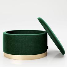 "PLAYBOY ovaler Pouf ""ROSANNE"" grün Hocker mit Metallfuß"