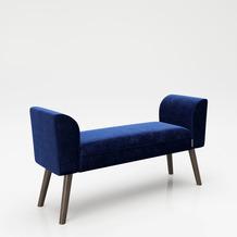 """PLAYBOY Sitzbank """"TIFFANY"""" blau 100 cm, Retrobank mit Massivholzfüßen"""