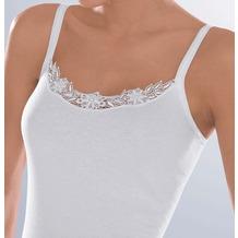 Pompadour Trägerhemd Feinripp mit hochwertigen Ätzmotiven weiß 38