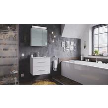 Posseik Badmöbel-Set Homeline 60 (2-teilig) weiß hochglanz inkl. Spiegelschrank mit Design LED-Lampe