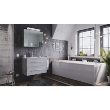 Posseik Badmöbel-Set Homeline 80 (2-teilig) beton inkl. Spiegelschrank mit Design LED-Lampe