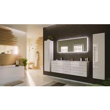 Posseik Badmöbelset Komplett Nero XL 4-teilig m. LED-Spiegel weiss hochglanz