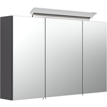 Posseik Spiegelschrank 100 inklusive LED-Acrylglaslampe anthrazit seidenglanz